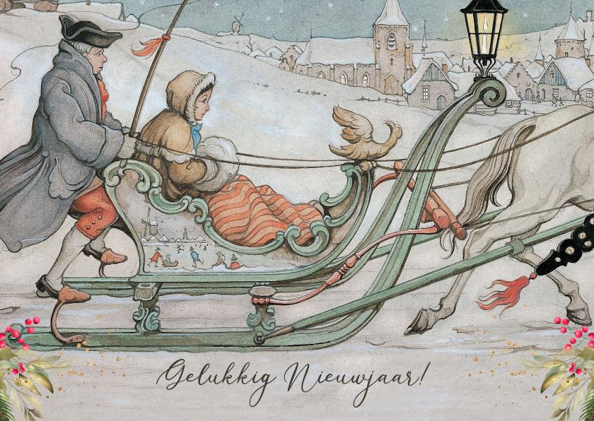 Nieuwjaarskaarten - Nieuwjaarskaart arreslee Anton Pieck illustratie