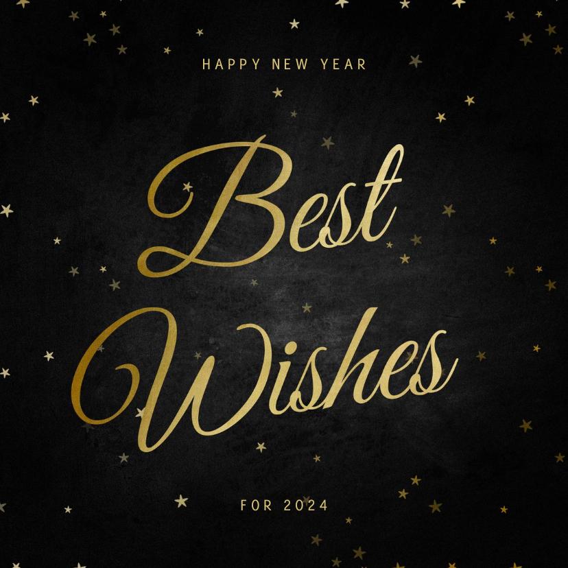 Nieuwjaarskaarten - Nieuwjaarskaart Best Wishes klassiek met sterren