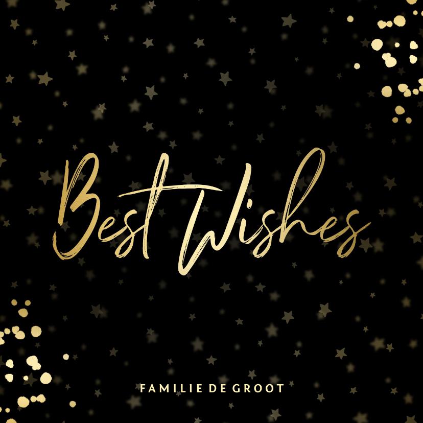 Nieuwjaarskaarten - Nieuwjaarskaart Best Wishes sterren goud met confetti