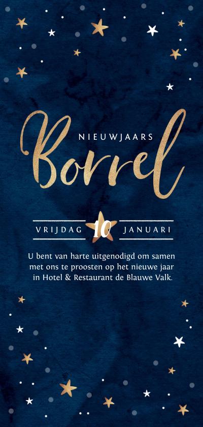 Nieuwjaarskaarten - Nieuwjaarskaart borrel goudlook blauw met sterren