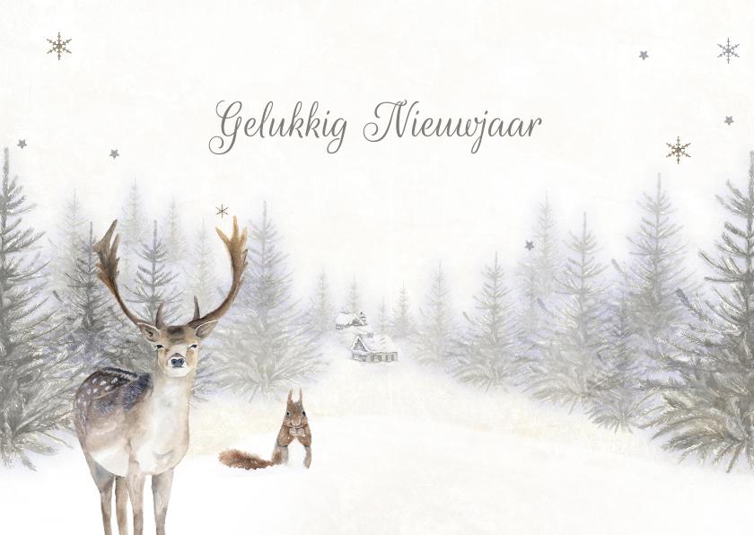 Nieuwjaarskaarten - Nieuwjaarskaart bos winter