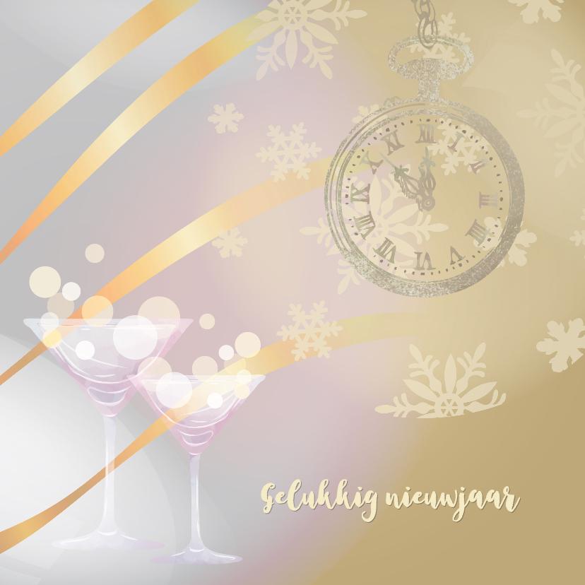 Nieuwjaarskaarten - Nieuwjaarskaart bruin met klok op 5 voor 12