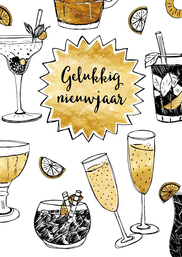 Nieuwjaarskaarten - Nieuwjaarskaart champagne goud