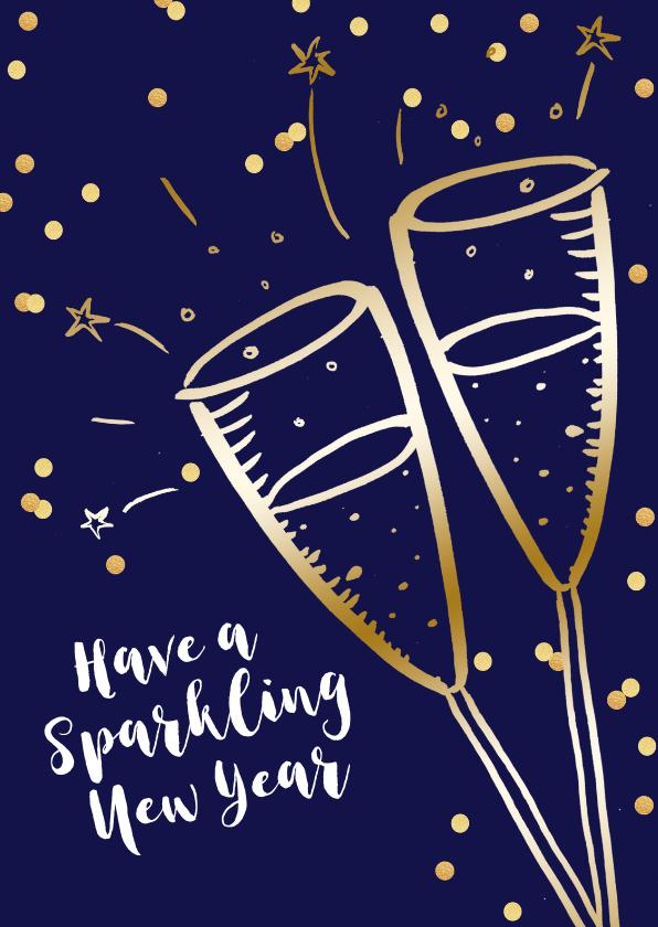 Nieuwjaarskaarten - Nieuwjaarskaart champagne goudlook  confetti