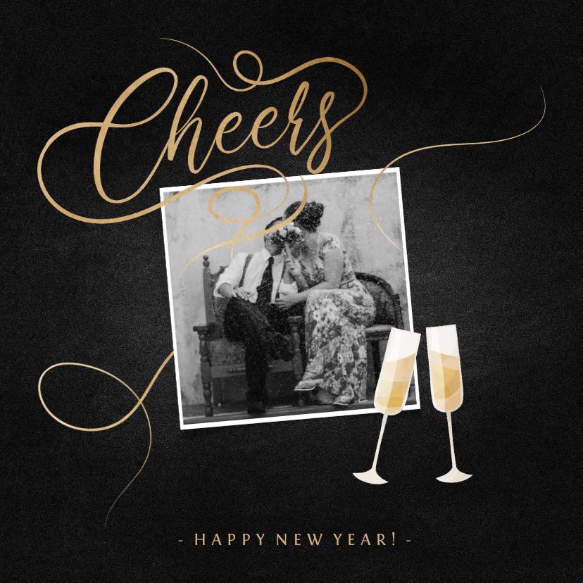 Nieuwjaarskaarten - Nieuwjaarskaart champagne met foto en gouden linten