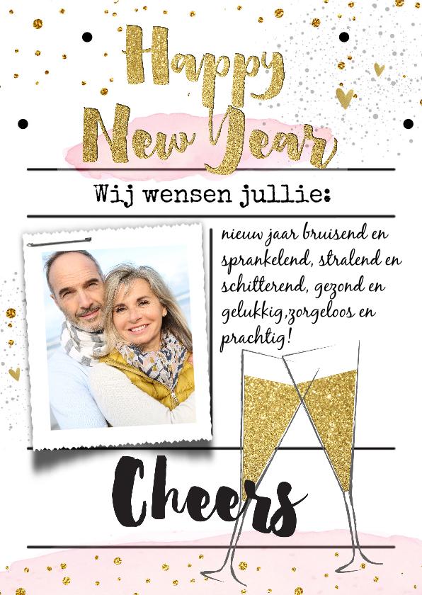 Nieuwjaarskaarten - Nieuwjaarskaart  champagneglazen goud watercolor