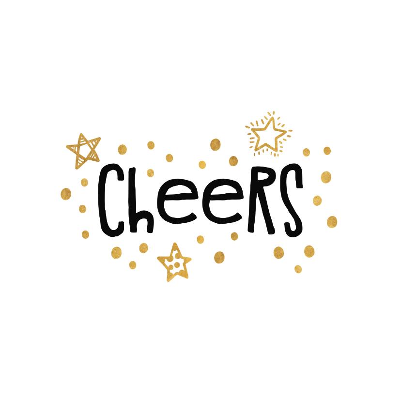 Nieuwjaarskaarten - Nieuwjaarskaart 'cheers' goudlook