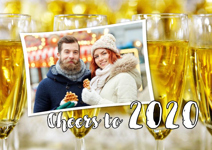 Nieuwjaarskaarten - Nieuwjaarskaart Cheers to 2019 champagne foto