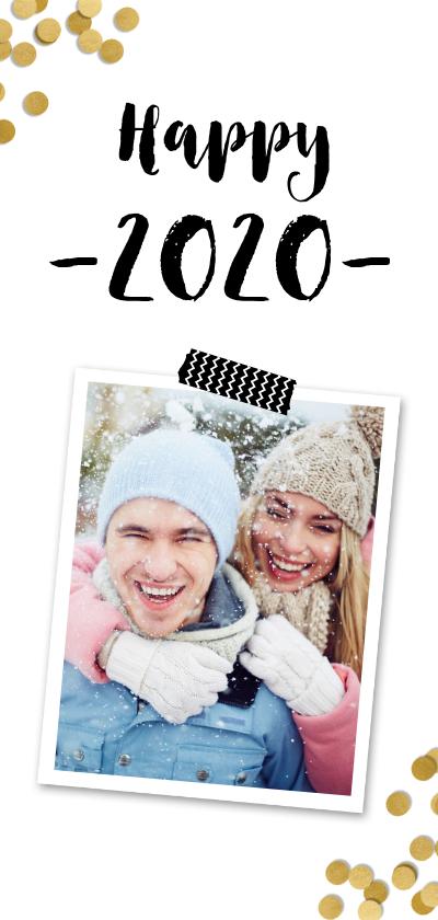 Nieuwjaarskaarten - Nieuwjaarskaart confetti goud en foto - BK