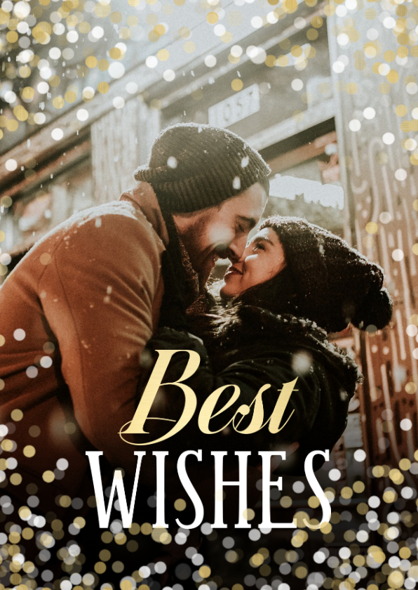 Nieuwjaarskaarten - Nieuwjaarskaart confetti grote foto Best Wishes
