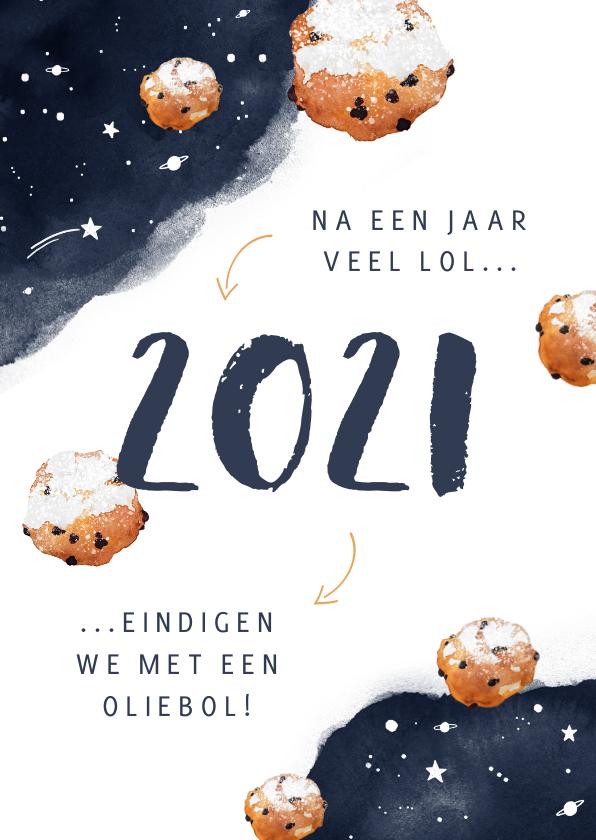 Nieuwjaarskaarten - Nieuwjaarskaart corona oliebol 2021 2022 sterren