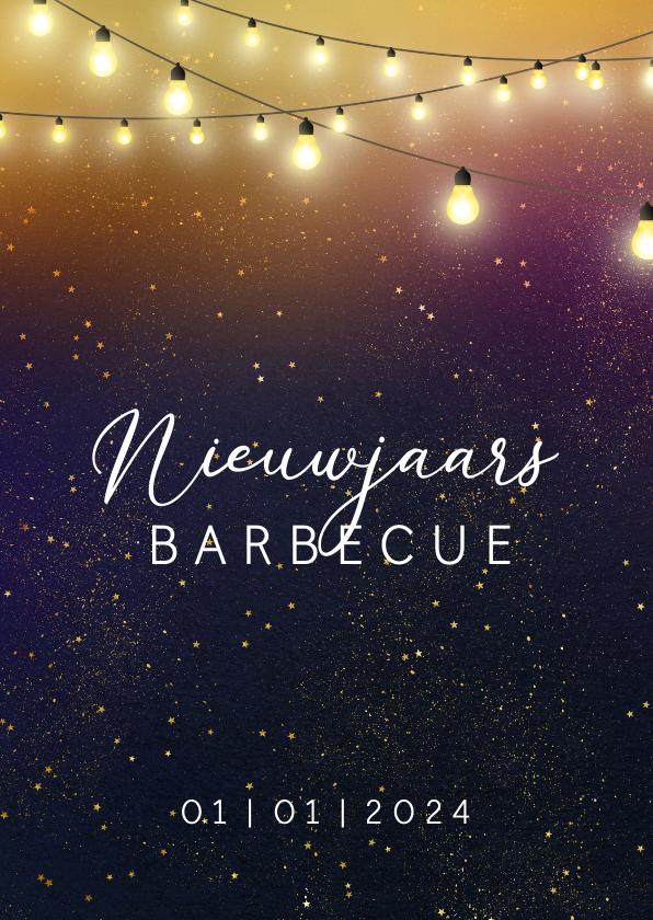 Nieuwjaarskaarten - Nieuwjaarskaart een uitnodiging voor een barbecue