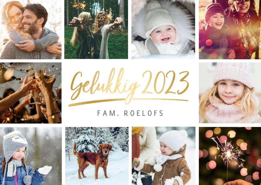 Nieuwjaarskaarten - Nieuwjaarskaart eenvoudige stijlvolle fotocollage 10 foto's