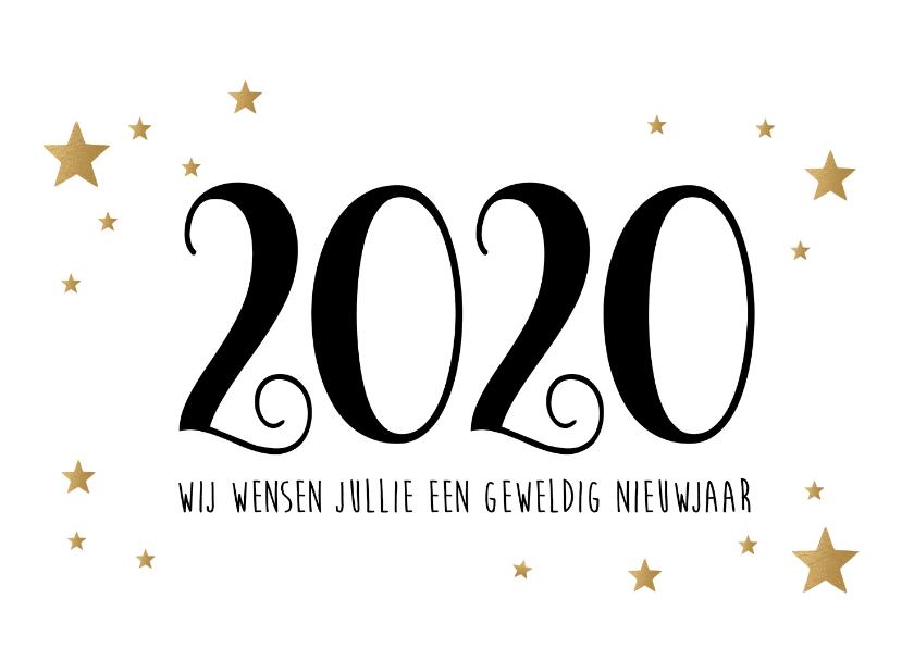 Nieuwjaarskaarten - Nieuwjaarskaart Fijne Feestdagen goudlook wit