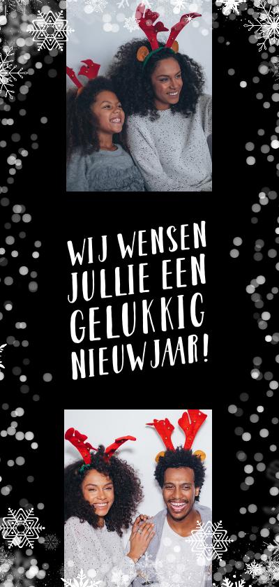 Nieuwjaarskaarten - Nieuwjaarskaart, flitsende sterren met 2 foto's