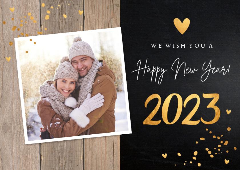 Nieuwjaarskaarten - Nieuwjaarskaart foto confetti goudlook hout krijtbord