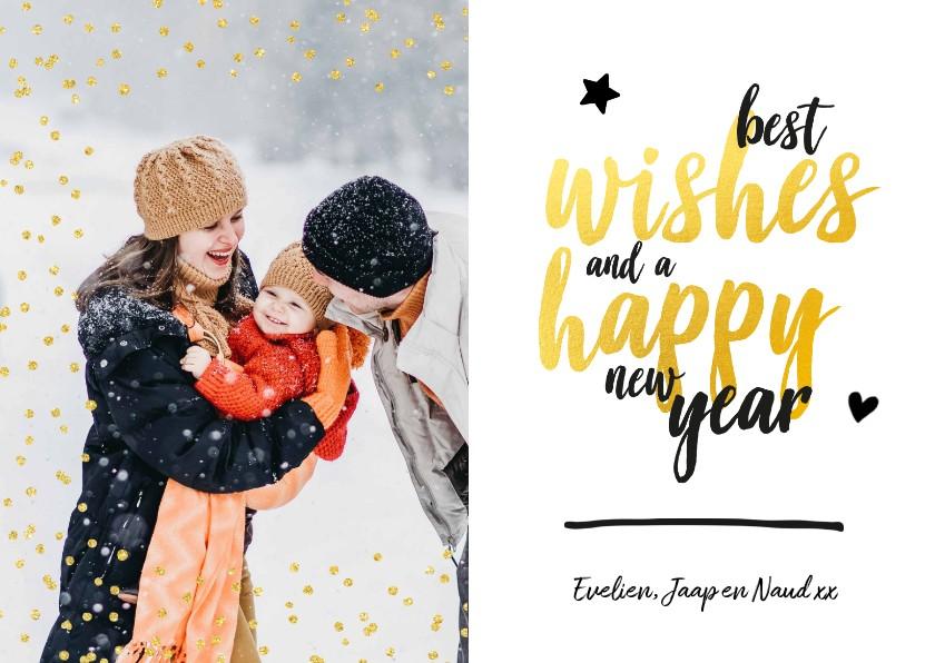 Nieuwjaarskaarten - Nieuwjaarskaart - foto met glitter en gouden letters