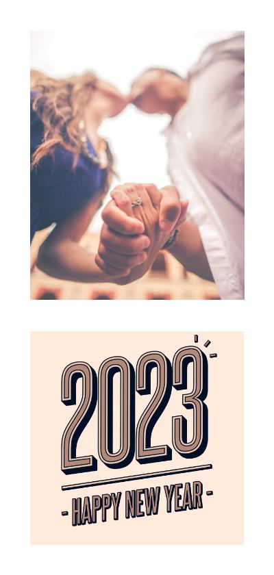 Nieuwjaarskaarten - Nieuwjaarskaart foto retro 2022 happy new year