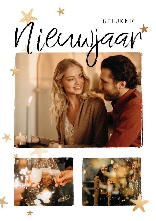 Nieuwjaarskaarten - Nieuwjaarskaart fotocollage 3 foto's met sterren