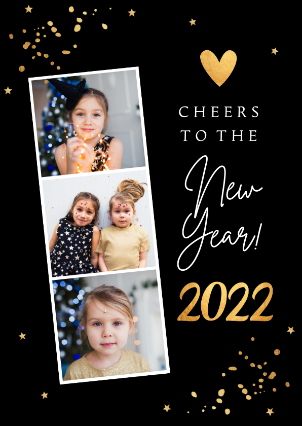 Nieuwjaarskaarten - Nieuwjaarskaart fotocollage confetti goudlook hartje