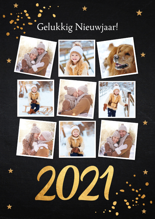 Nieuwjaarskaarten - Nieuwjaarskaart fotocollage donker goud confetti