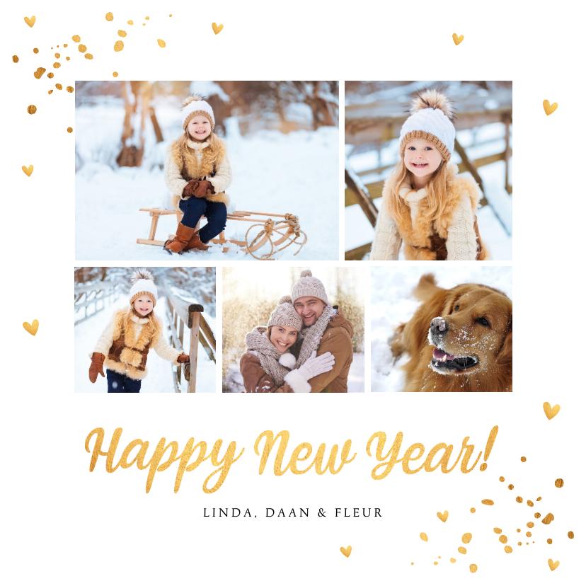 Nieuwjaarskaarten - Nieuwjaarskaart fotocollage goud confetti