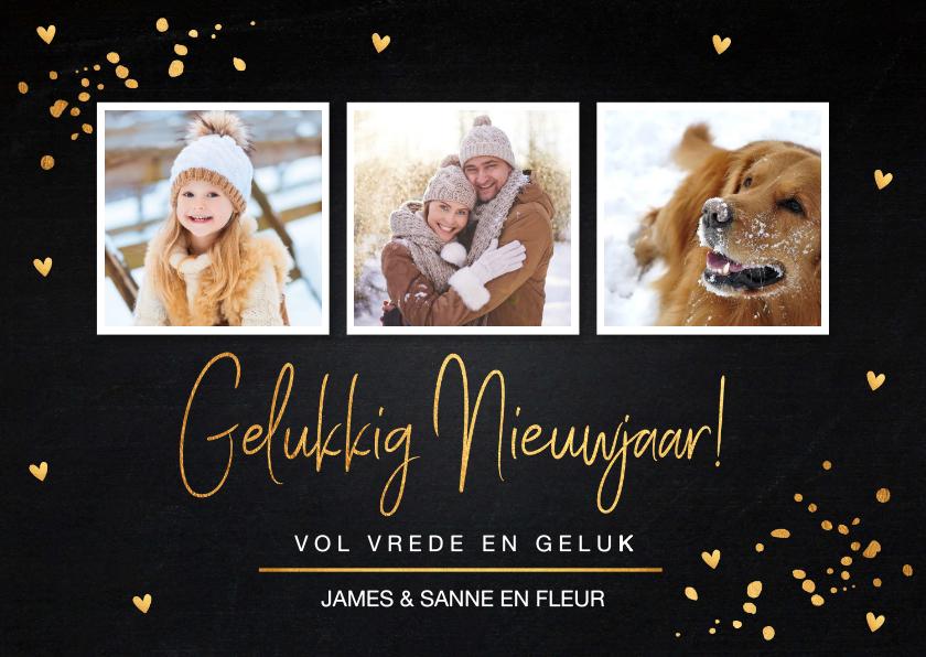 Nieuwjaarskaarten - Nieuwjaarskaart fotocollage gouden confetti