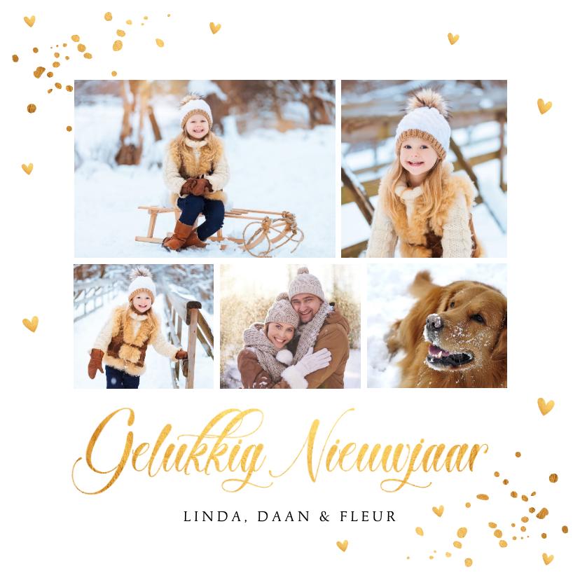 Nieuwjaarskaarten - Nieuwjaarskaart fotocollage goudlook confetti