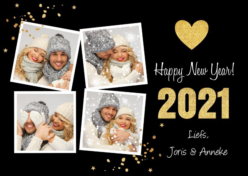 Nieuwjaarskaarten - Nieuwjaarskaart fotocollage hartje goud