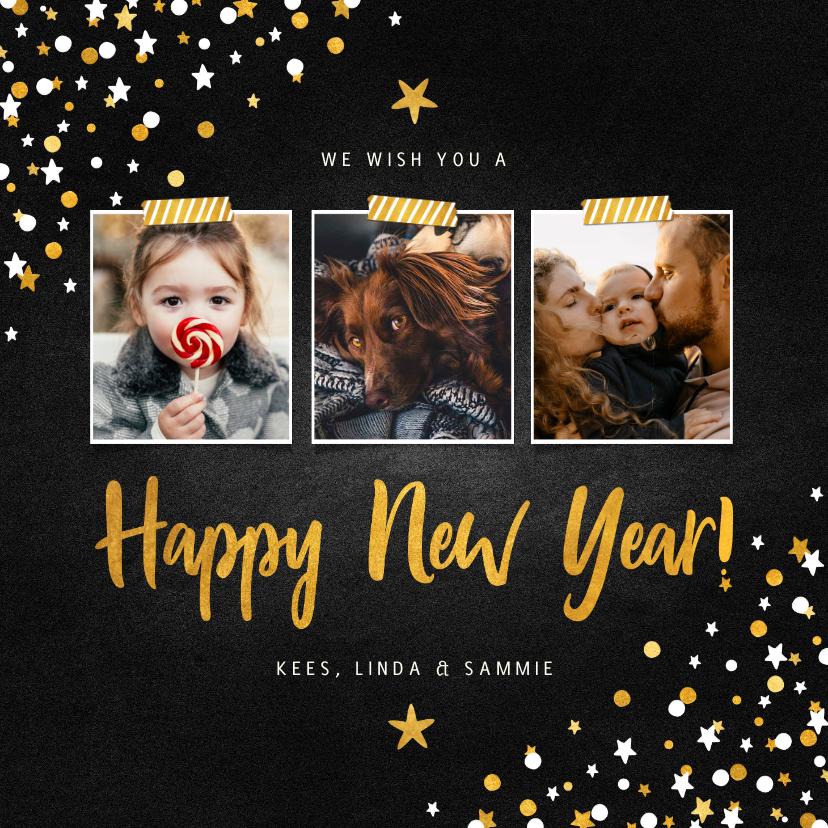Nieuwjaarskaarten - Nieuwjaarskaart fotocollage krijtbord met confetti