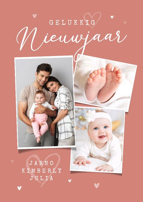 Nieuwjaarskaarten - Nieuwjaarskaart fotocollage liefde hartjes