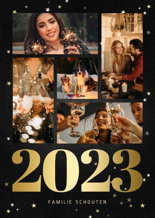 Nieuwjaarskaarten - Nieuwjaarskaart fotocollage met gouden 2022 en sterren