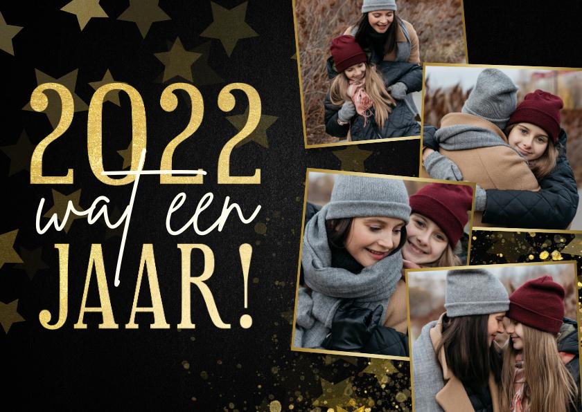 Nieuwjaarskaarten - Nieuwjaarskaart fotocollage terugblik 2021 wat een jaar