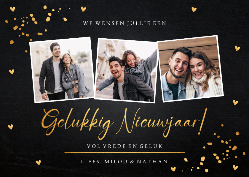Nieuwjaarskaarten - Nieuwjaarskaart fotocollage zwart goudlook confetti hartjes