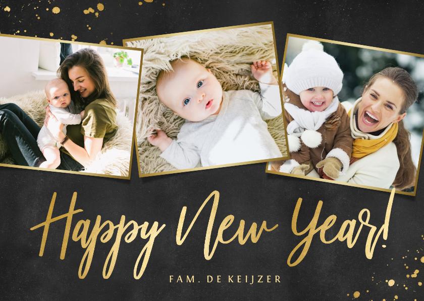 Nieuwjaarskaarten - Nieuwjaarskaart fotocollage zwart met goud en 3 foto's