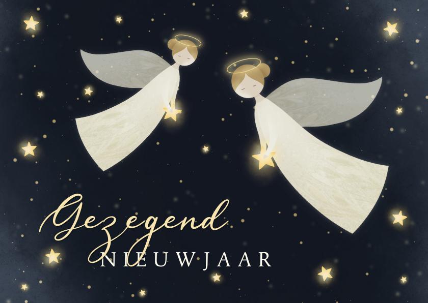 Nieuwjaarskaarten - Nieuwjaarskaart Gezegend Nieuwjaar met 2 engelen en sterren