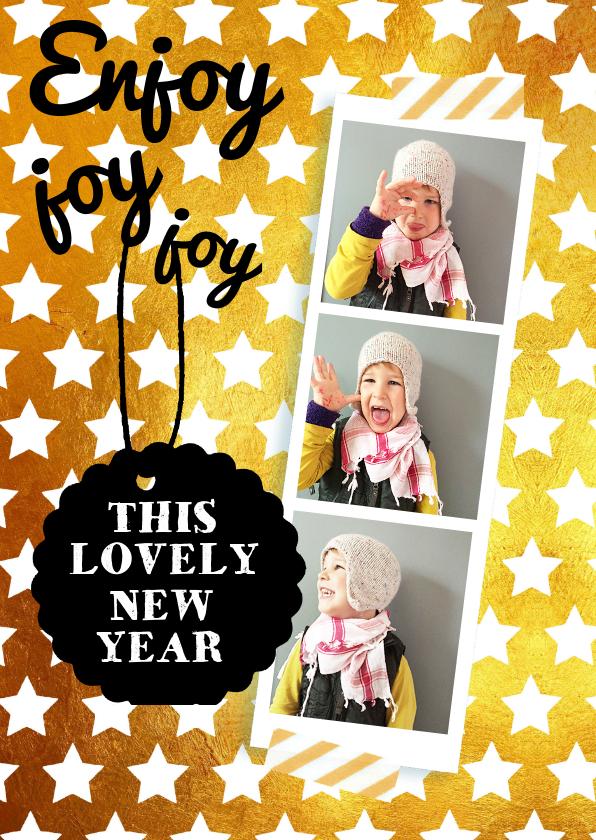 Nieuwjaarskaarten - Nieuwjaarskaart goud sterren wit