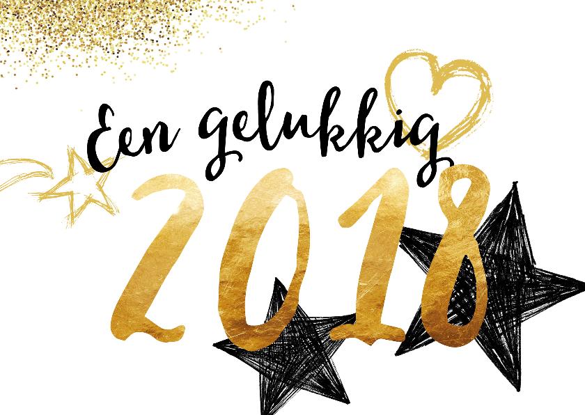 Nieuwjaarskaart Gouden 2018 Nieuwjaarskaarten Kaartje2go
