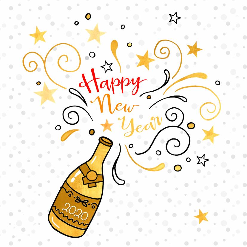 Nieuwjaarskaarten - Nieuwjaarskaart gouden champagne