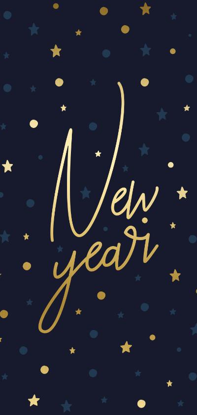 Nieuwjaarskaarten - Nieuwjaarskaart gouden 'New Year', sterren en confetti