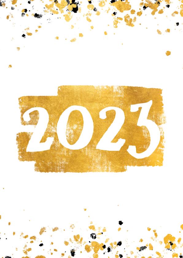 Nieuwjaarskaarten - Nieuwjaarskaart gouden vlak '2022' confetti