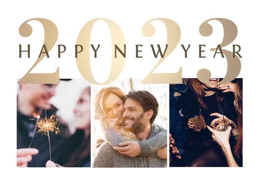 Nieuwjaarskaarten - Nieuwjaarskaart goudlook '2022' fotocollage 3 foto's