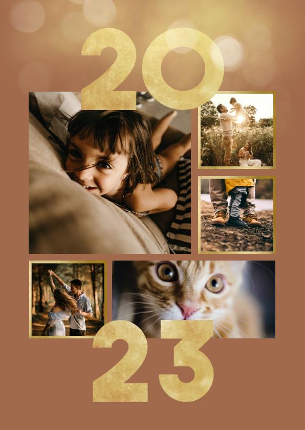 Nieuwjaarskaarten - Nieuwjaarskaart goudlook collage aanpasbaar 2022