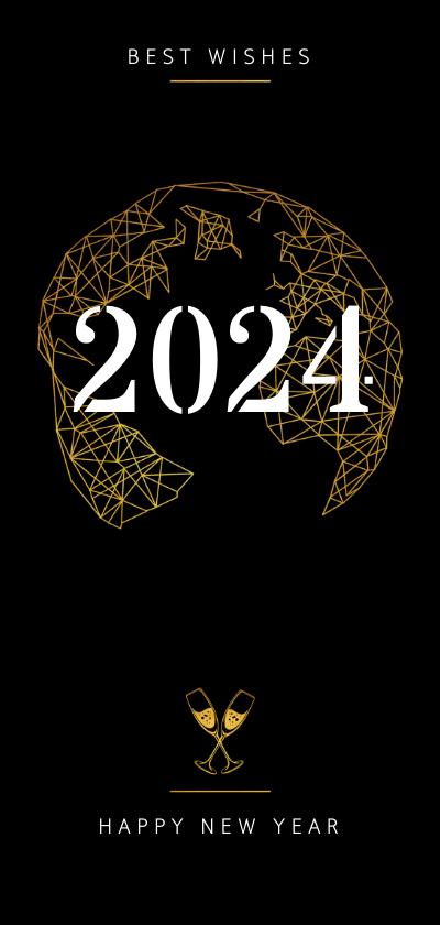 Nieuwjaarskaarten - Nieuwjaarskaart goudlook geometrisch champagne