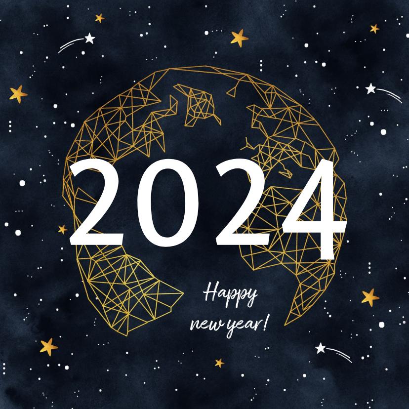 Nieuwjaarskaarten - Nieuwjaarskaart goudlook geometrisch met sterren