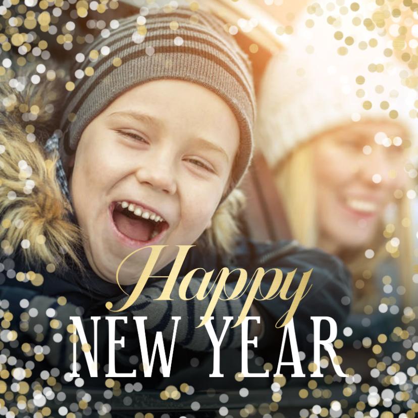 Nieuwjaarskaarten - Nieuwjaarskaart grote foto Happy new Year confetti