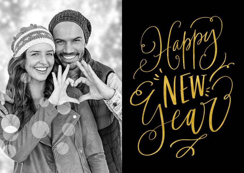 Nieuwjaarskaarten - Nieuwjaarskaart handlettering Happy New Year zwart met goud