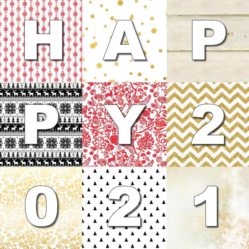 Nieuwjaarskaarten - Nieuwjaarskaart Happy  2020 Patchwork