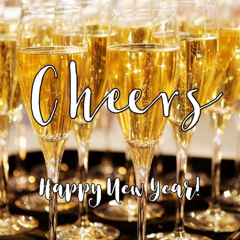 Nieuwjaarskaarten - Nieuwjaarskaart Happy New Year 2020 Champagne