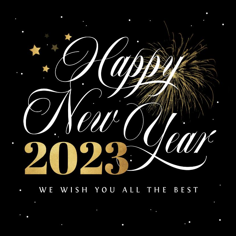 Nieuwjaarskaarten - Nieuwjaarskaart happy new year fijne feestdagen vuurwerk